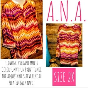 A.n.a Top Size 2X Bright High Low Tunic